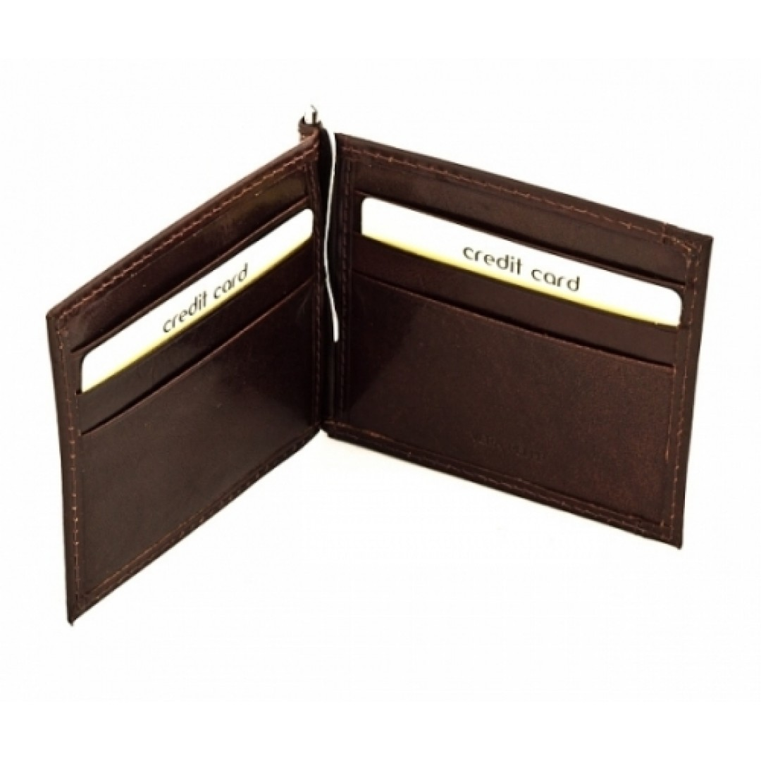 Men's leather wallet with money clip Optimist | 8112
