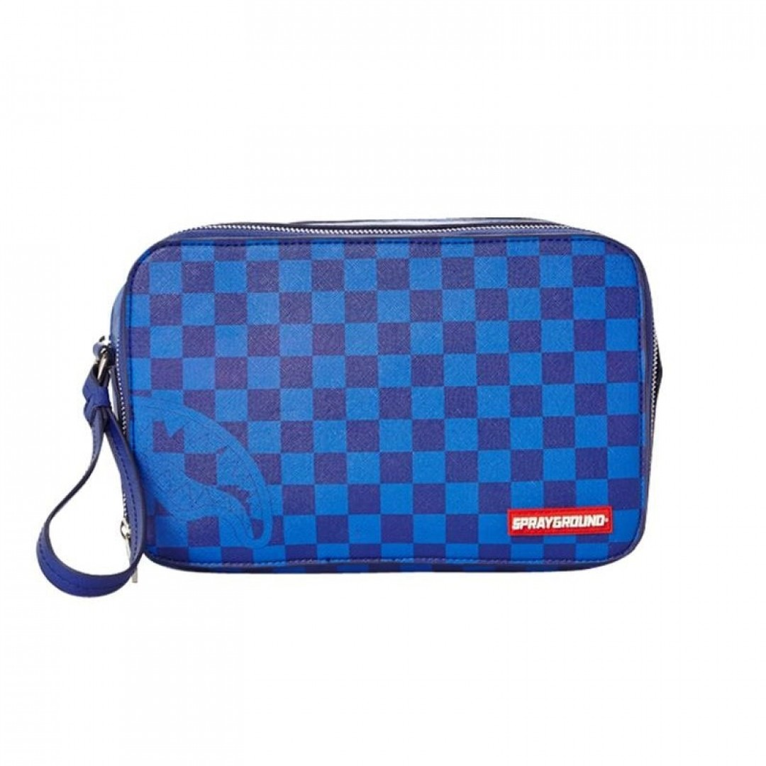 Kulturbeutel Sprayground | Blue Checkered Shark Toiletry Bag