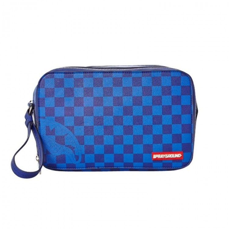 Toaletna torbica Sprayground | Blue Checkered Shark Toiletry Bag